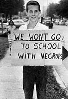 Young boy supporting racism